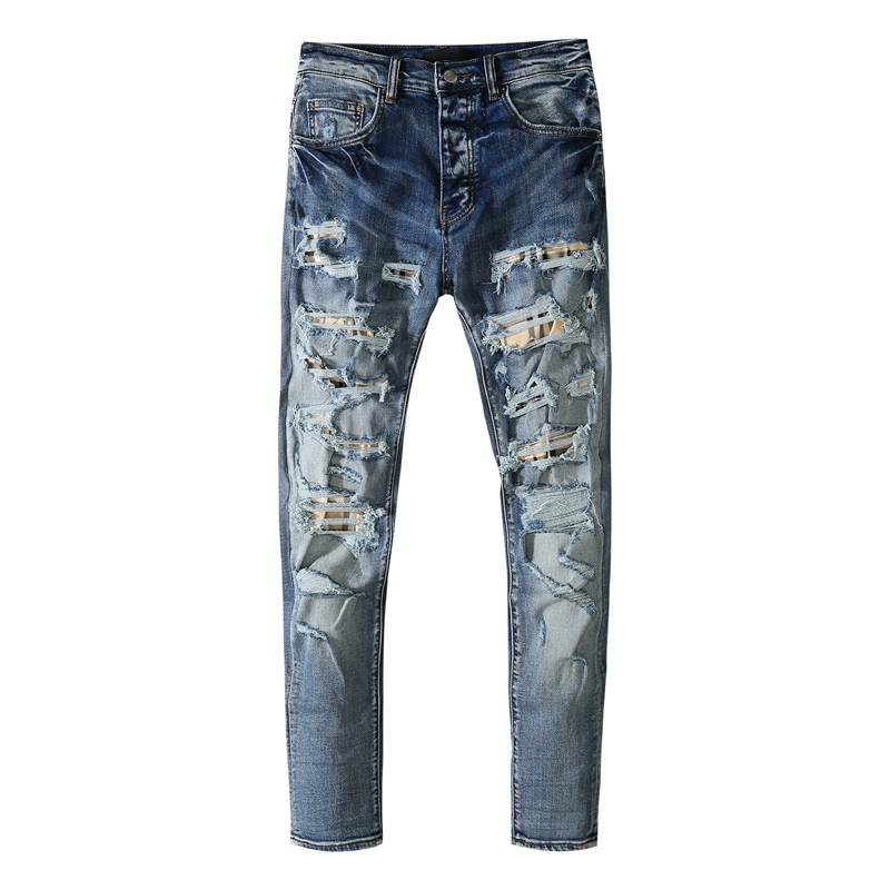 American Famous Brand AMR 2021ss Jeans for Men Washed Patch Ripped Jeans Men's Clothing Pants Streetwear Traf Men Trousers
