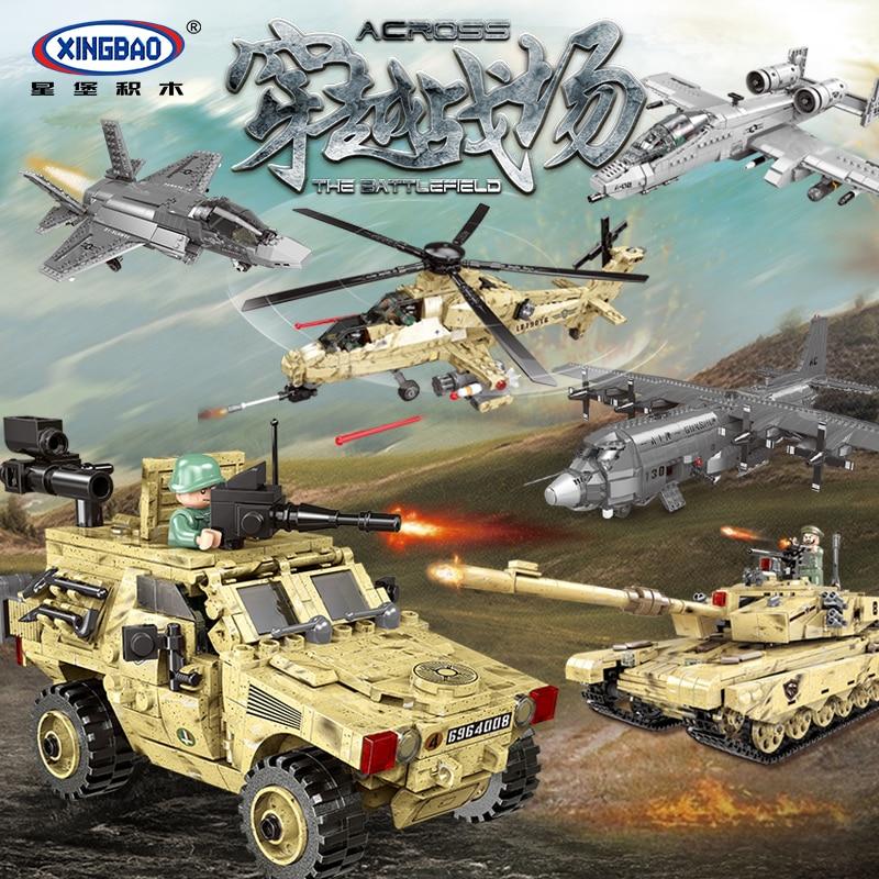 Xingbao, serie militar a través del campo de batalla, tanque, avión de combate, transportador, vehículo de montaña, juguetes, modelo de bloques de construcción
