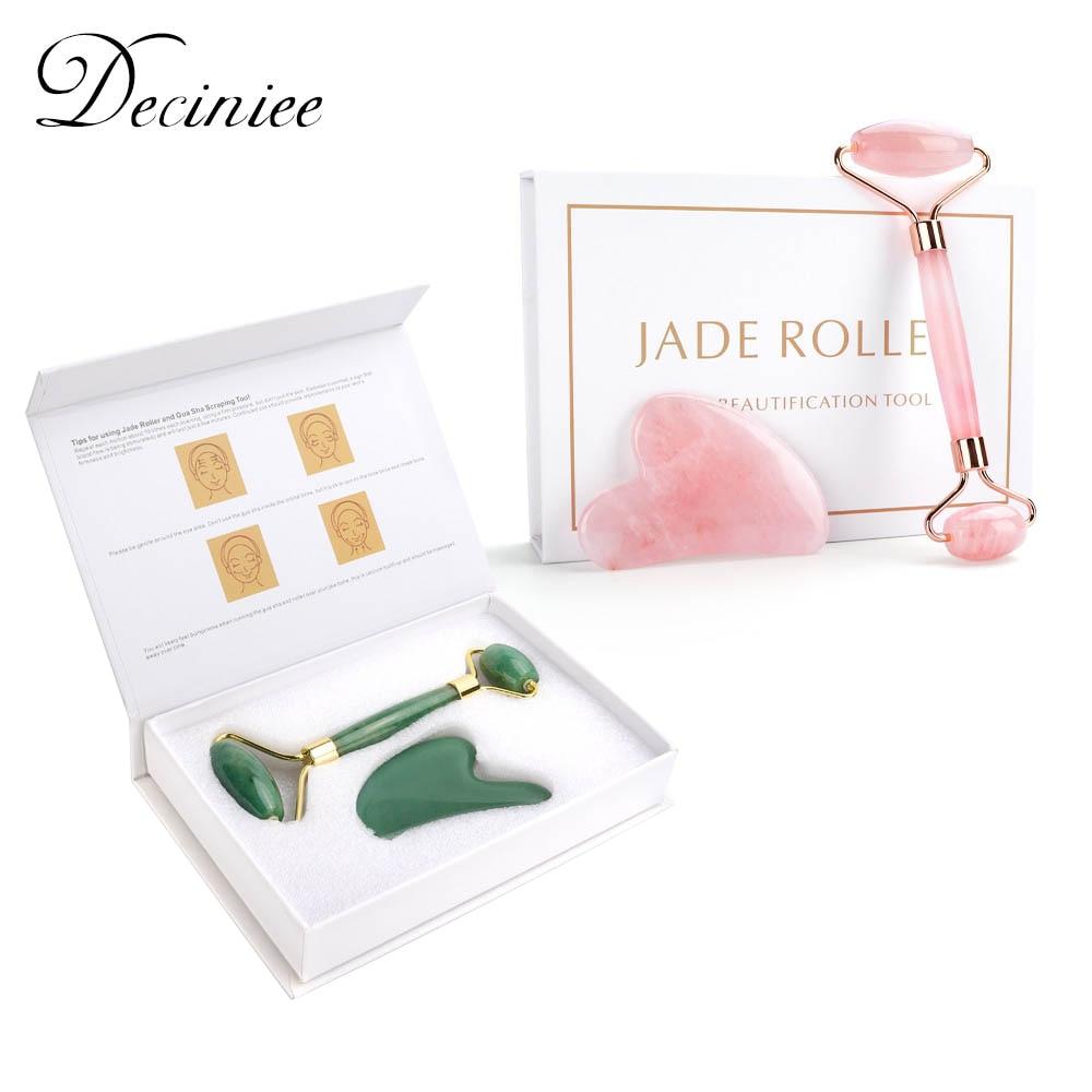 Natural Rose Quartz Jade Roller Gua Sha Set Facial Body Massager Roller Jade Stone Massage Set Face Lifting Beauty Massage Tool