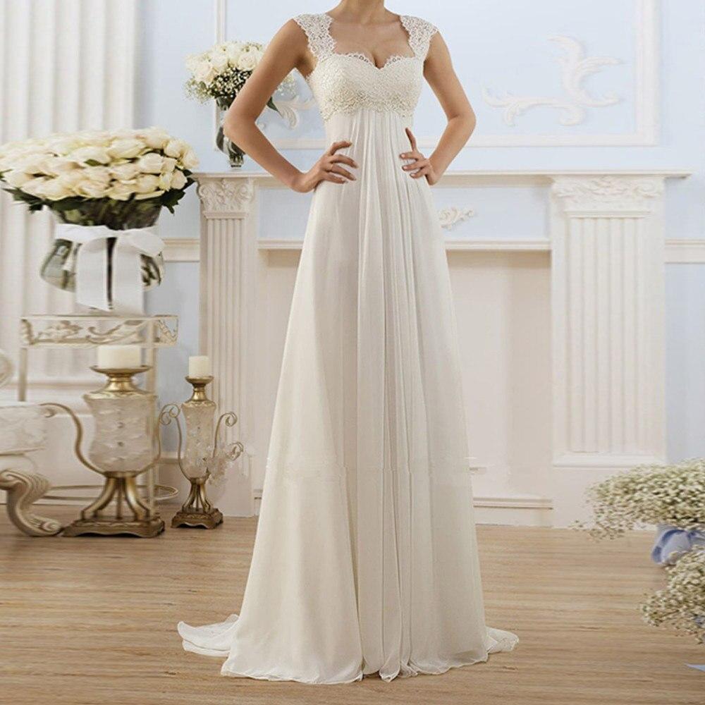 Dressv-فستان سهرة دانتيل أبيض ، ياقة مربعة ، بدون أكمام ، طول الأرض ، أنيق ، للنساء ، للمناسبات ، 2020