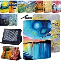 oil painting series pu leather tablet stand case for amazon kindle paperwhite 1234kindle 10th gen 2019kindle 8th gen 2016