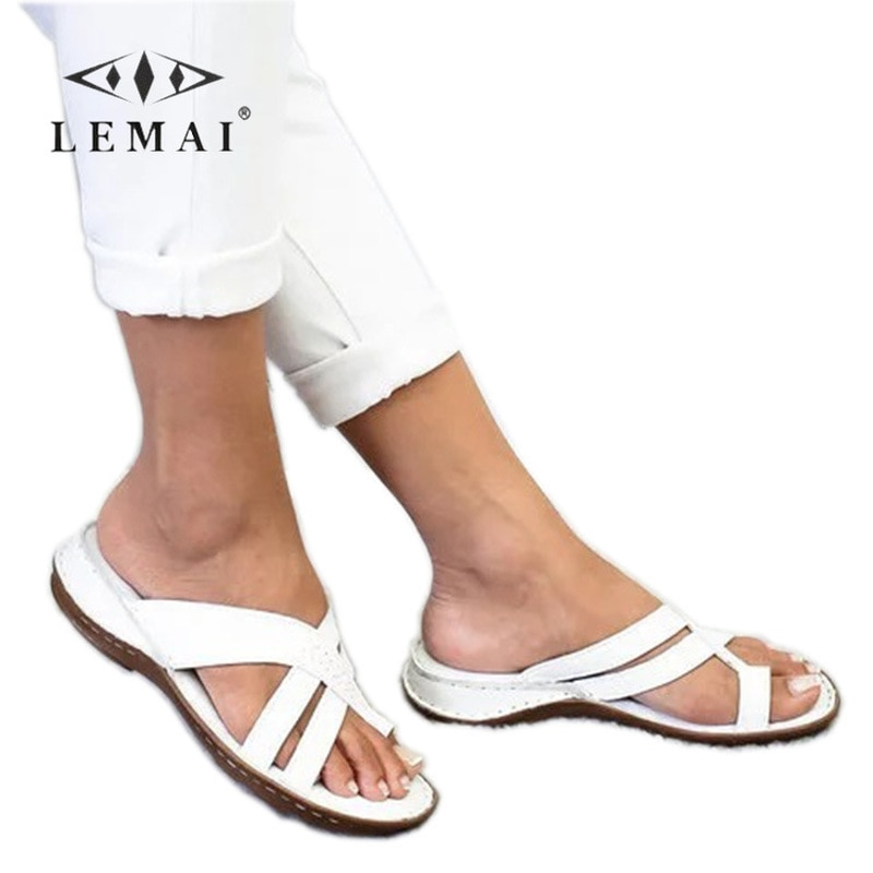 LEMAI Fashion Women Peep Toe Slip-on Sandals Breathable Casual Slippers Slides Comfortable Flat Gladiator Sandals for Women