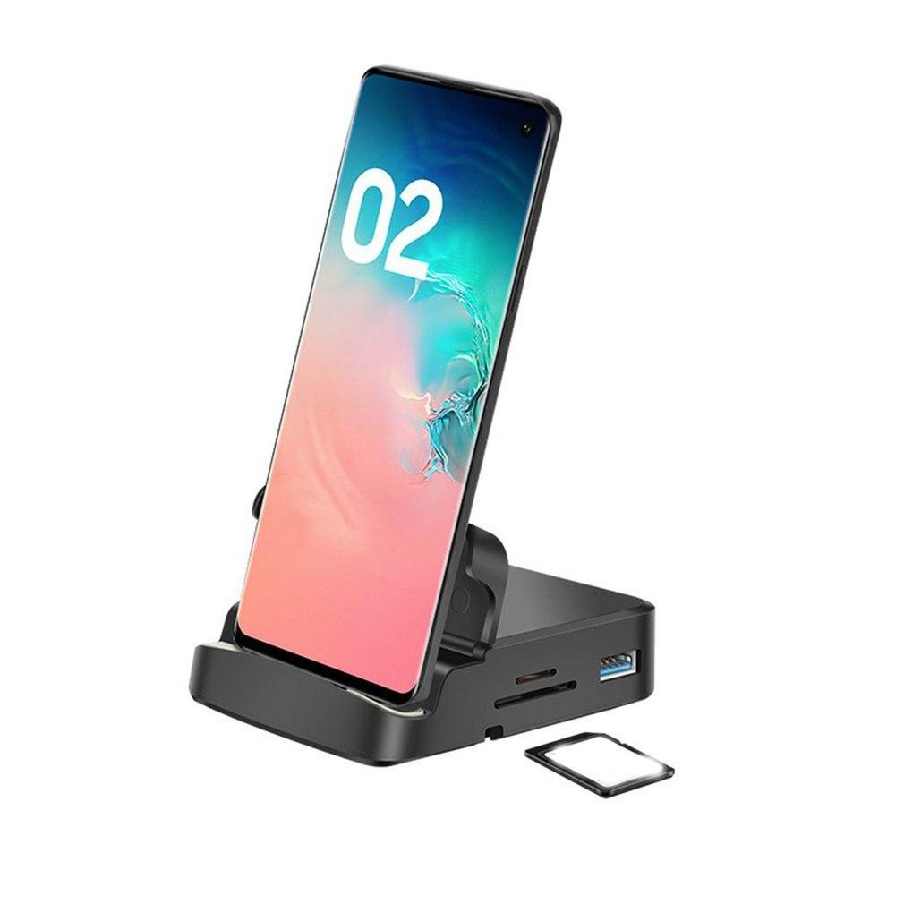 حامل هاتف شاحن نوع C 3.0 SD TF بطاقة PD حامل هاتف قفص الاتهام محول الطاقة لمحطة إرساء SamsungS20 S10 HUB Huawei