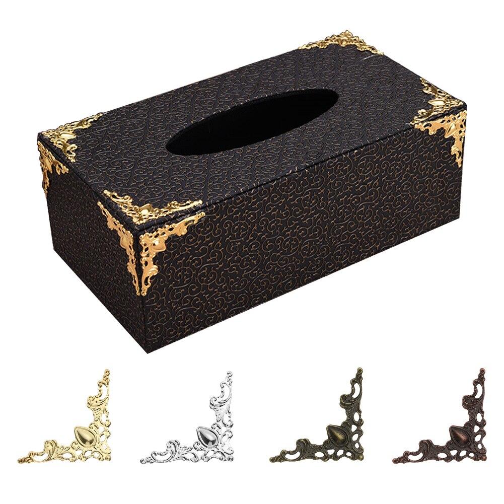 4 pièces coins en métal Antique or Bronze pour livre Photo meubles boîte coin pièce protecteurs décoratifs métal artisanat bricolage ornement