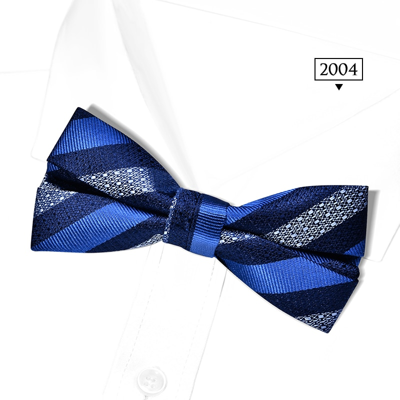 2020 Brand New Fashion Men's Bow Ties Double Fabric Silk Bowtie Banquet Wedding Bridegroom Ceremony Butterfly Tie with Gift Box