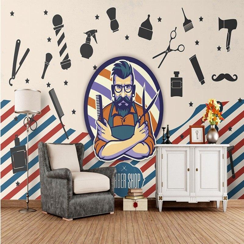 Envío Directo foto papel tapiz moda salón de belleza pintura decorativa fondo de pared papel pintado barbería personalizado Mural