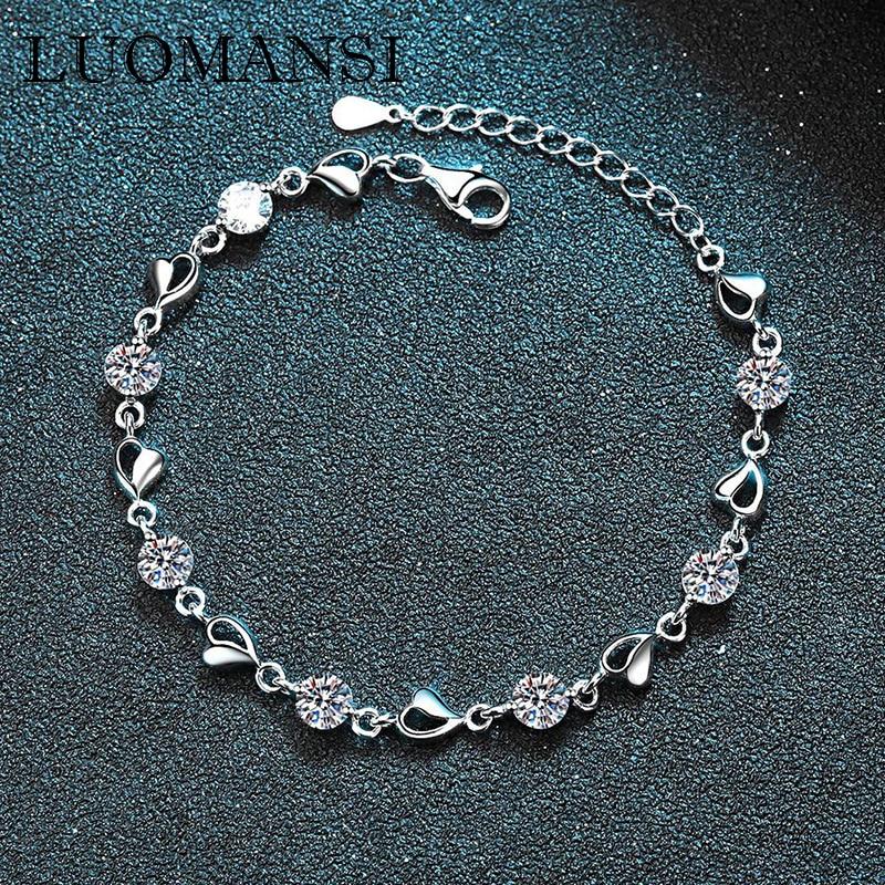 Luomansi 0.35CT 7 مويسانيتي الحب سوار GRA شهادة S925 فضة مجوهرات الزفاف حفلة امرأة هدية 18 + 3.5 سنتيمتر