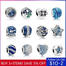 Offre spéciale authentique 925 en argent Sterling 14 Style bleu océan coeur perles ajustement Original Pandora Bracelet bijoux à bricoler soi-même livraison directe