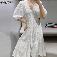 new spring summer women white sexy v neck hollow midi dress chic embroidery solid loose elegant party dresses ladies vestidos