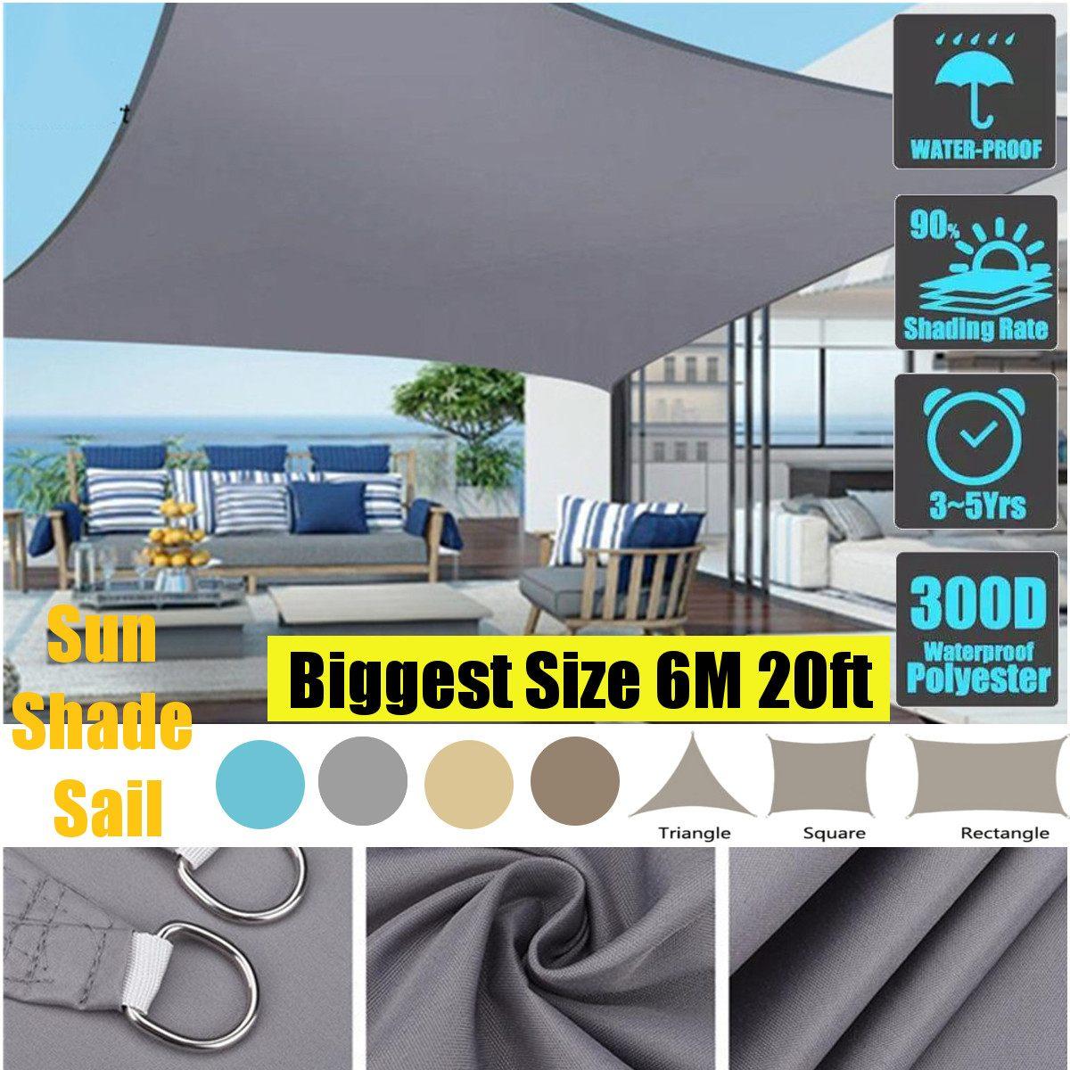 6 متر 20ft 300GSM مقاوم للماء المظلة ظلة الشمس الظل الشراع للخارجية حديقة الشاطئ التخييم الباحة تجمع الشمس خيمة مظلة الشمس المأوى