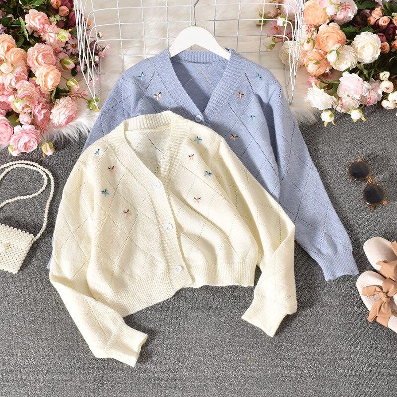 Suéter de punto bordado Floral 2020 otoño versión coreana de la nueva Harajuku lindo holgado calado Casual lana Cardigan mujeres