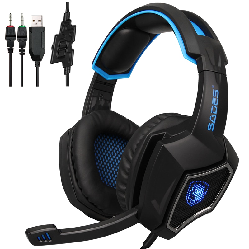 Sades Spirit Wolf 3.5/7.1 Channel USB Wired Gaming Headset With Microphone Extra Bass High Quality For Smartphone PC Gammer enlarge