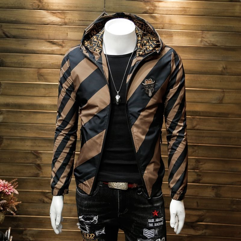Hooded jacket men's youth slim fit Korean embroidery casual sports men's coat personalized clothes