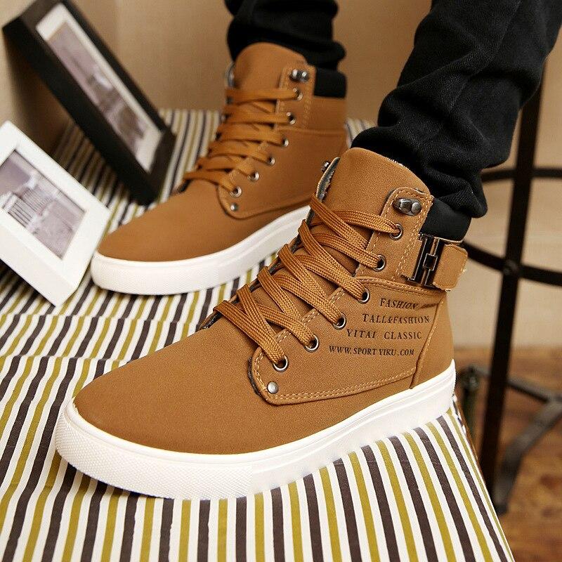 2019 caliente de los hombres botas de moda caliente de los hombres de invierno otoño zapatos de calzado de cuero para hombre de alta superior zapato Casual de lona Hombre de gran tamaño