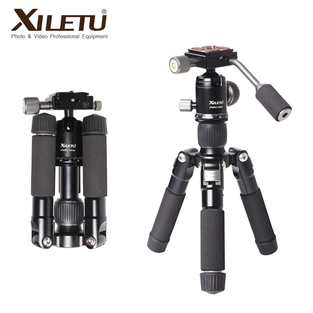 XILETU FM5C-MINI الألومنيوم البسيطة ترايبود الكرة رئيس الرقمية SLR كاميرا الطاولة حامل خفيفة الوزن سطح المكتب الهاتف مثلث قوس