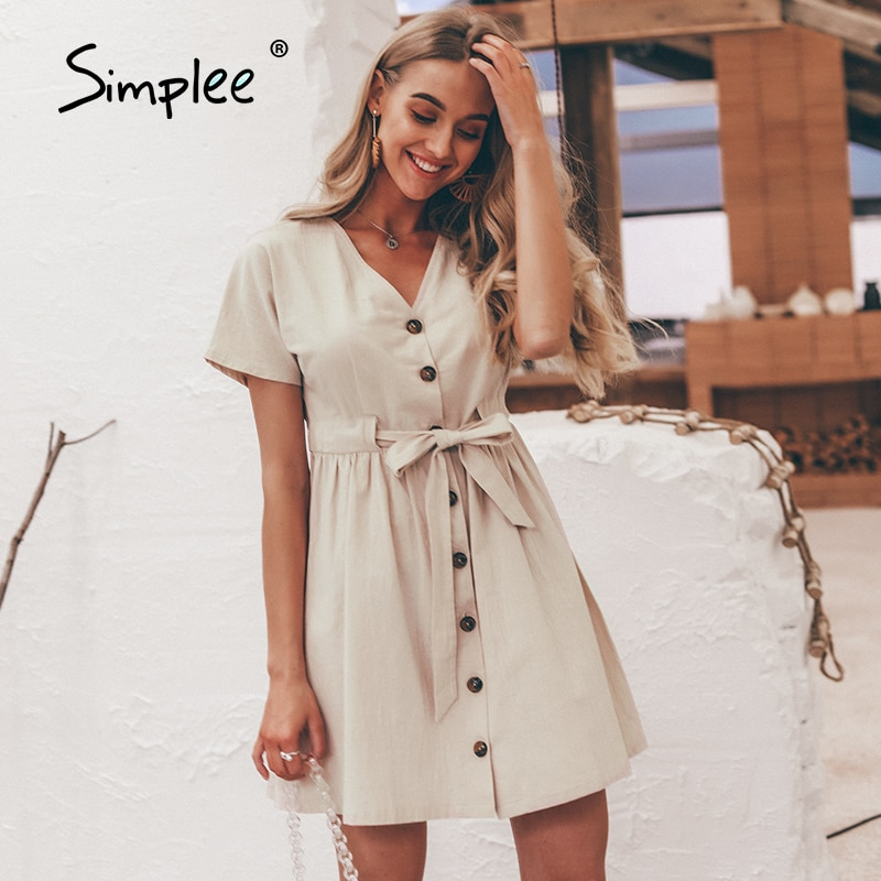 Simplee خمر أزرار فستان المرأة قميص الخامس الرقبة قصيرة الأكمام القطن الكتان قصيرة الصيف مكتب فساتين عادية الكورية vestidos