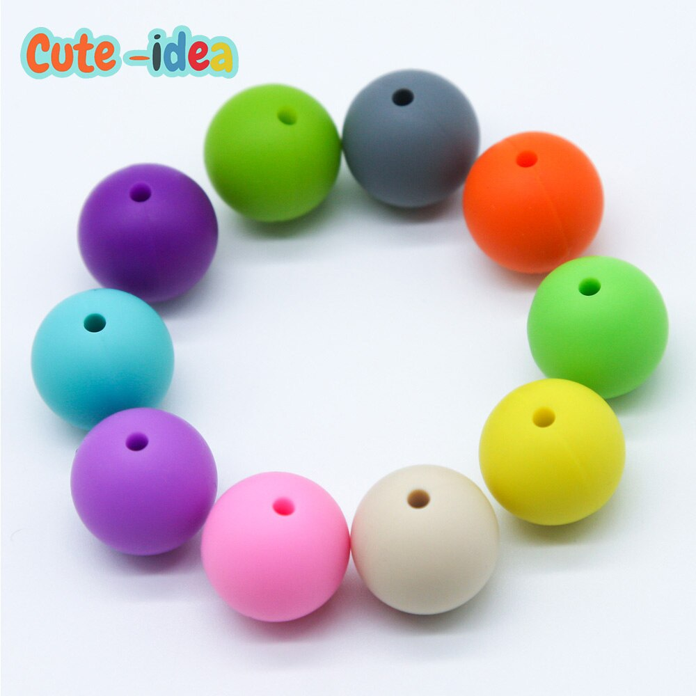 Cute-idea 1000pcs 19mm Silicone Beads Teething Chew Beads Food Grade Teether Necklace BPA Free DIY Jewelry Baby Teether Toy