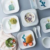 cartoon cactus square dinner plate breif household ceramic plate porcelain breakfast dessert cake tray fruit snack dishes plate