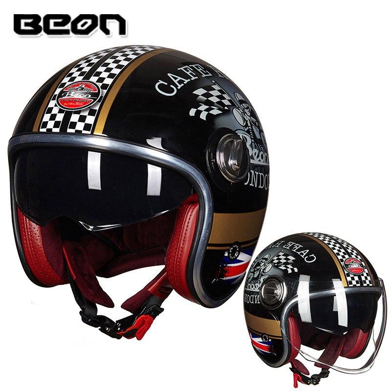 Шлем BEON, винтажный шлем для скутера, шлем с открытым лицом, винтажный шлем для мотокросса, шлем Casco Capacete, Ретро шлем