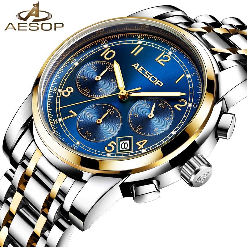 Aesop moda masculina relógios de pulso de quartzo masculino de aço inoxidável relógios de pulso de safira de luxo