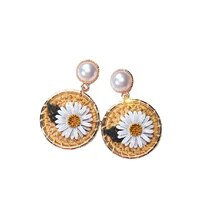 fashion 1 pair charm silvery needle korean small fresh wound flower earrings girl sweet geometric circular knitting earrings