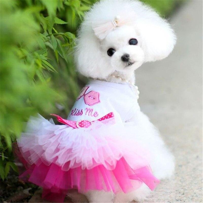 Купить с кэшбэком XS-XL Summer Pet Dog Dress Tutu Skirt Wedding Dog Dress Pet Princess Dresses Fashion Pet Clothes for Small Dogs Yorkie
