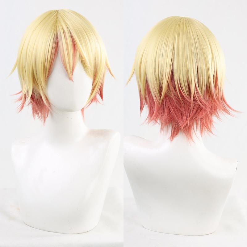 Gradient Yellow Pink Harajuku Mullet Wig Prince Lolita Hair Short Straight Hair Blonde Orange Adult Girls Women Men Cosplay