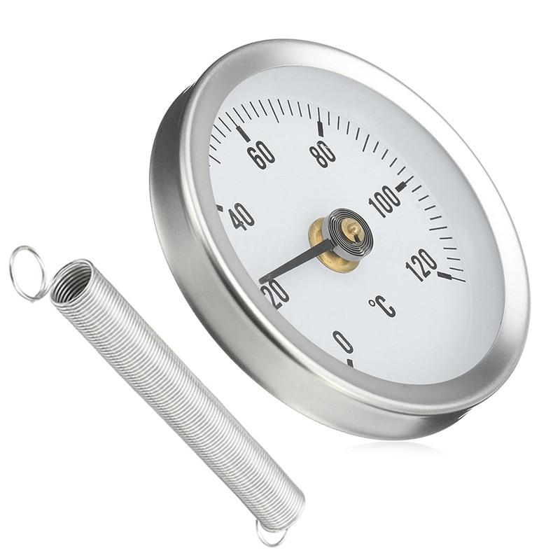 Трубчатый термометр с зажимом, 63 мм, 0-120 градусов по Цельсию, металлический Температурный датчик с пружиной, бытовые Термометры для дома lpfk