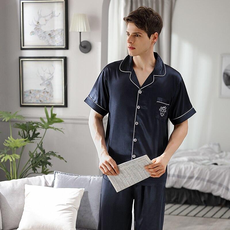 Лед шелк одежда для сна мужской летний короткий рукав длинные брюки из двух частей пижама комплекты тонкие мужские пижамы домашняя одежда 9008