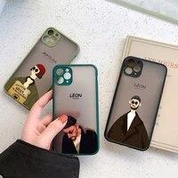 cartoon killer leon uncle girl phone case for iphone 12 11 pro x xr xs max 6s 7 8 plus se2020 cute hard transparent cover couple