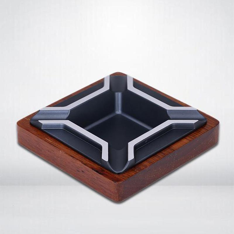 JIFENG Portable Cigar Ashtray Square Zinc Alloy&Chicken-Wingwood Cigar Ashtray Deliacte With 4 Cigars Holder Ash Slot New enlarge