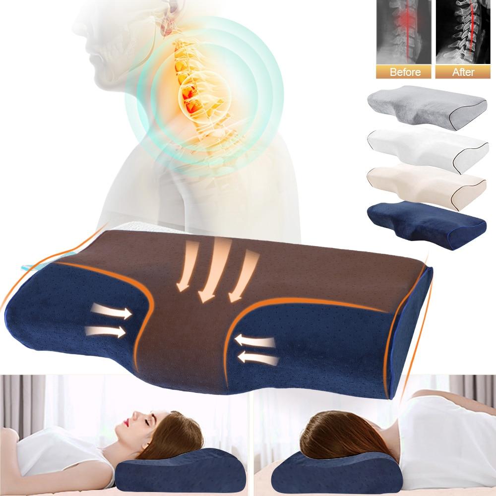 Almohada ortopédica Urijk, almohadas para cama en forma de mariposa, almohada de espuma de memoria masajeadora para el alivio del dolor del cuello durante el sueño Cervical