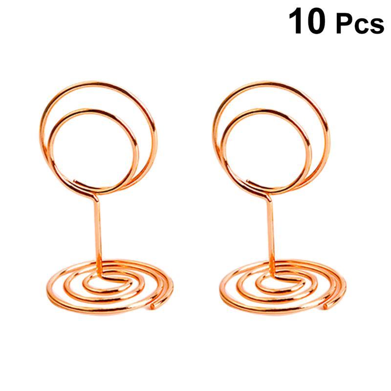 10 círculo de pcs en forma de nota foto titular de papel de tarjeta de Metal Clips para notas para boda decoración de mesa de fiesta (oro)