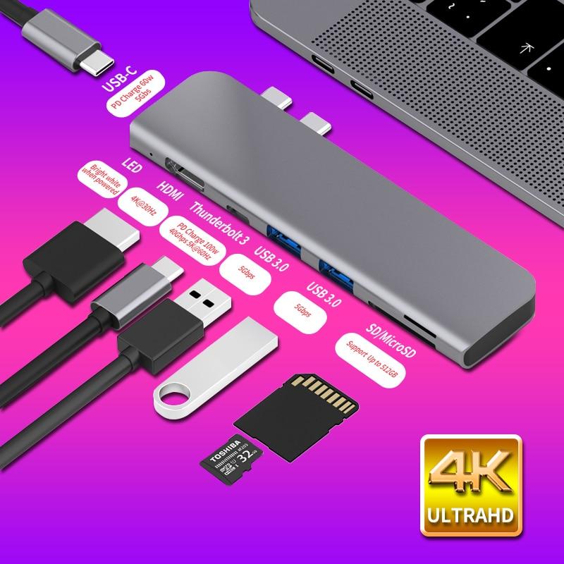 USB 3.1 نوع-C محور إلى HDMI محول 4K الصاعقة 3 USB C محور مع محور 3.0 TF SD قارئ فتحة PD ل ماك بوك برو/الهواء 2018 - 2020