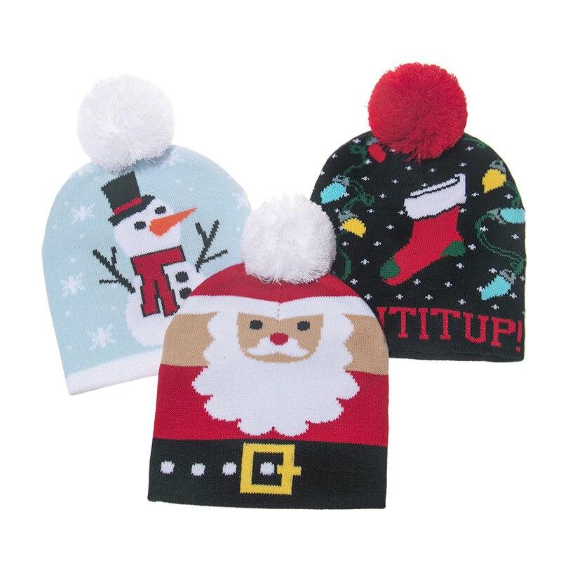 Chapéu de natal camisola de malha gorro natal chapéu de malha presente de natal para crianças natal decorações de ano novo 2021