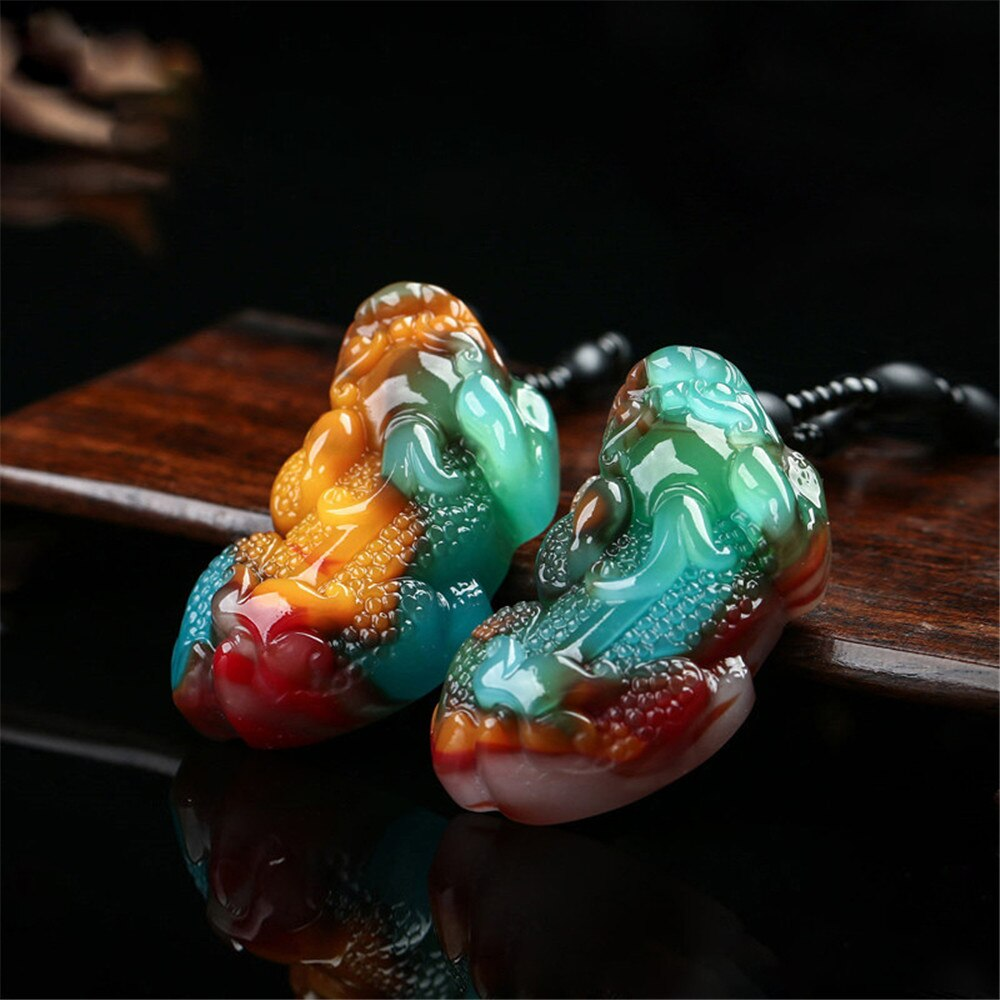 1 шт. новый стиль Синьцзян натуральный семь цветов Jadeite Pixiu кулон курица крови оникс мужчин и женщин счастливое ожерелье