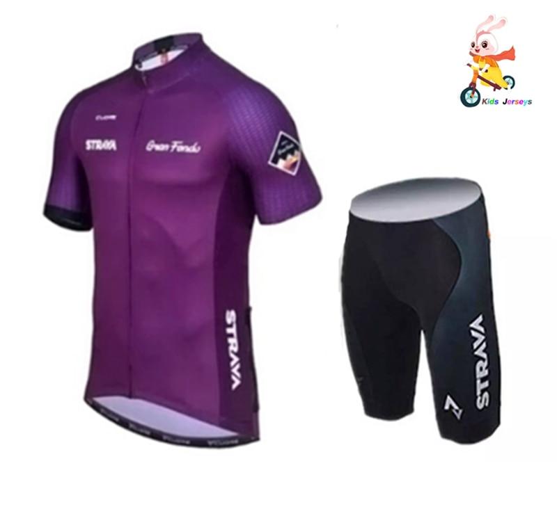Conjunto de bicicleta para niños 2020 PRO Team Strava, Jersey de Ciclismo de manga corta, traje de ciclismo, conjunto de bicicleta de equilibrio para chica