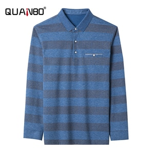 QUANBO Men's Striped Shirt Polo 2020 Autumn New Arrival Business Casual Long Sleeve Polo Shirts Classic Cotton Casual Polos 3XL