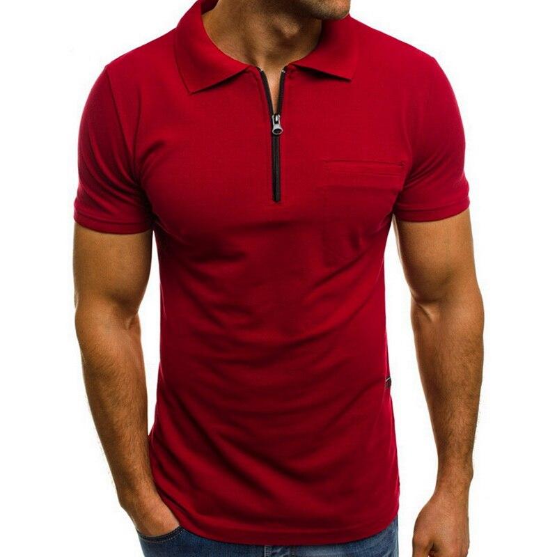 Laamei 2019 جديد رجل قميص بولو العلامة التجارية كم قصير نحيف قميص بلون سستة بدوره أسفل الرقبة قميص بولو الرجال