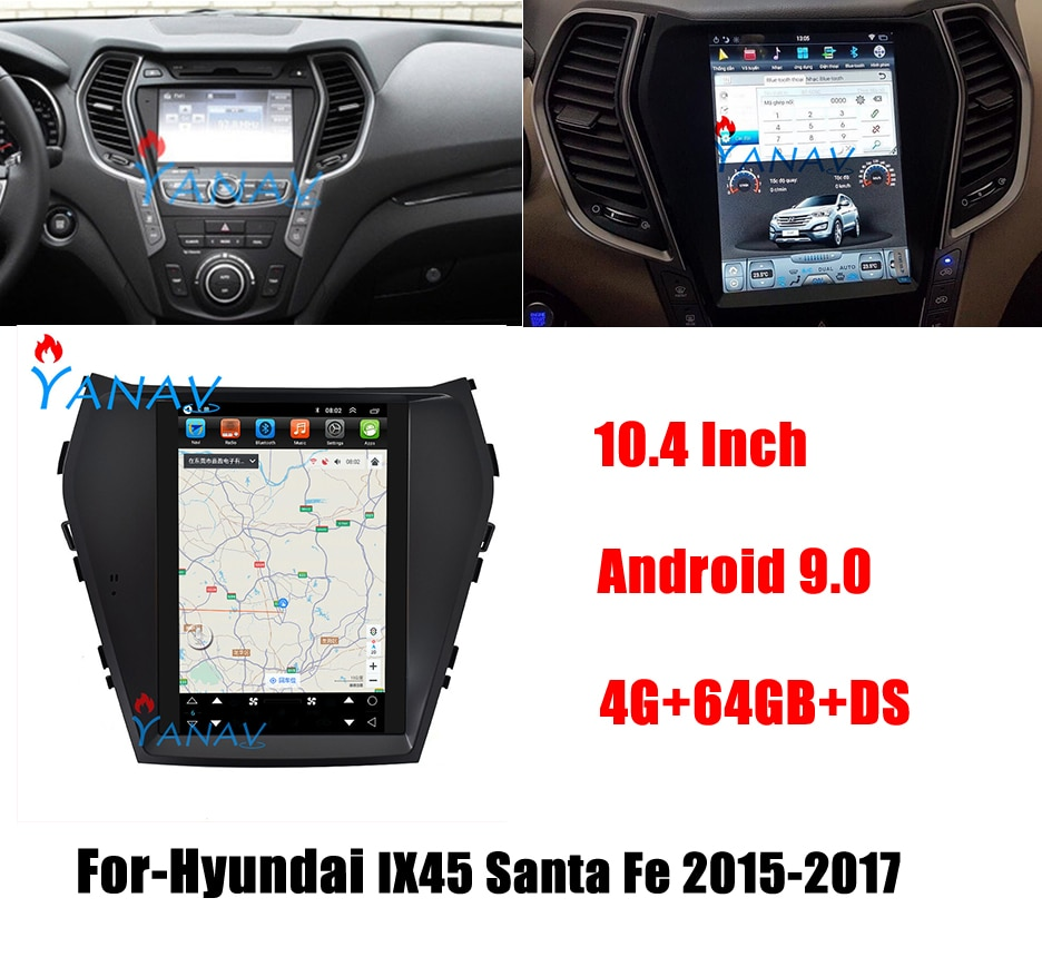 Android Audio Tesla Style Multimedia Player Car Radio For-Hyundai IX45 Santa Fe 2015 2016 2017 Stere
