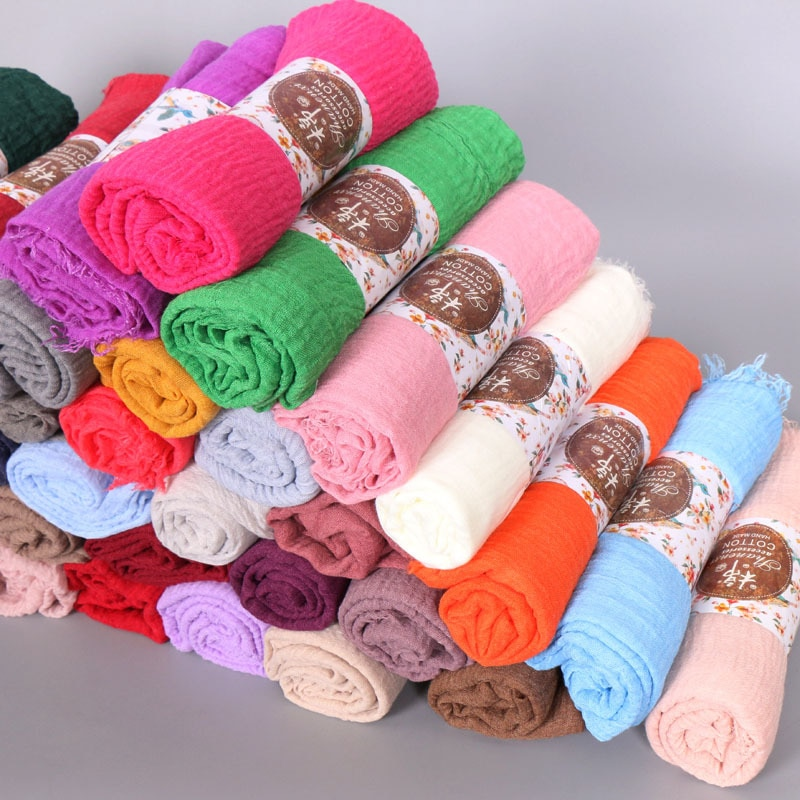 180pcs/lot  Women Crinkle Bubble cotton popular plain wrinkle scarf shawl wrap muslim hijab headband drape popular scarves