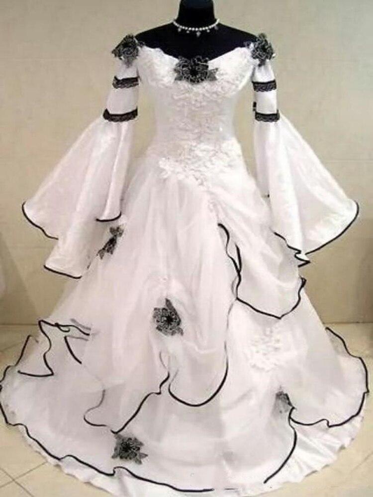 Vestidos De boda medievales negros y blancos Vintage renacentista Vestido De Novia...