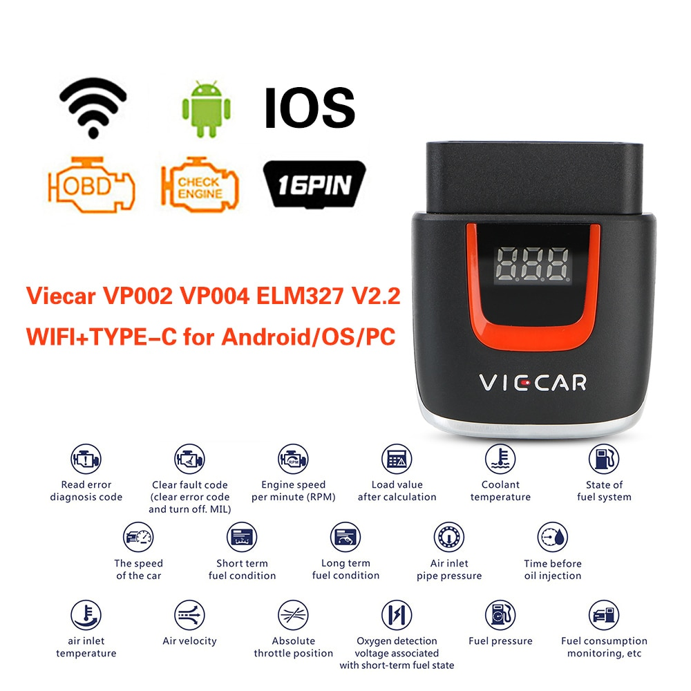 WIFI ELM 327 OBD2 Elm327 OBD Car Diagnostic Auto Tool For Android/IOS USB Scanner Code Reader Viecar VP004 VP002 ELM327 V2.2 launch x431 cr3001 full obd ii eobd function code reader cr3001 auto scanner diagnostic pk elm327 cr319