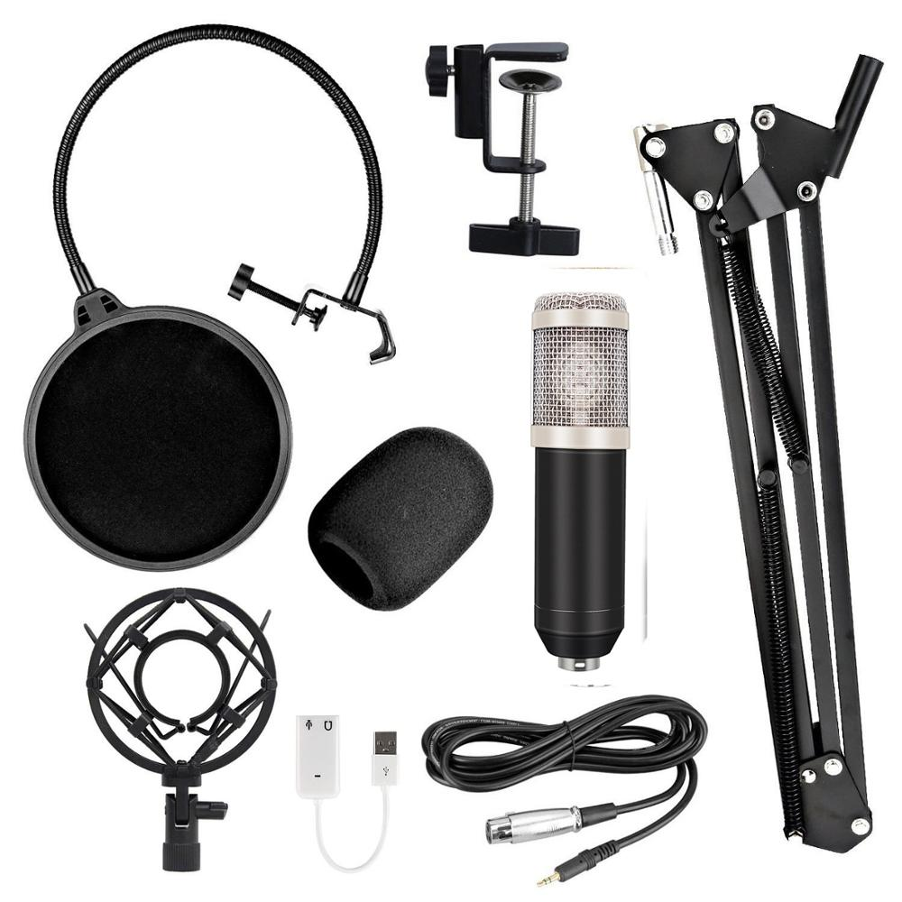 Bm 800 Kit Wired Condenser Microphone With Sound Card For Computer Studio Recording  Radio Live Broadcast  Karaoke Mikrofon enlarge