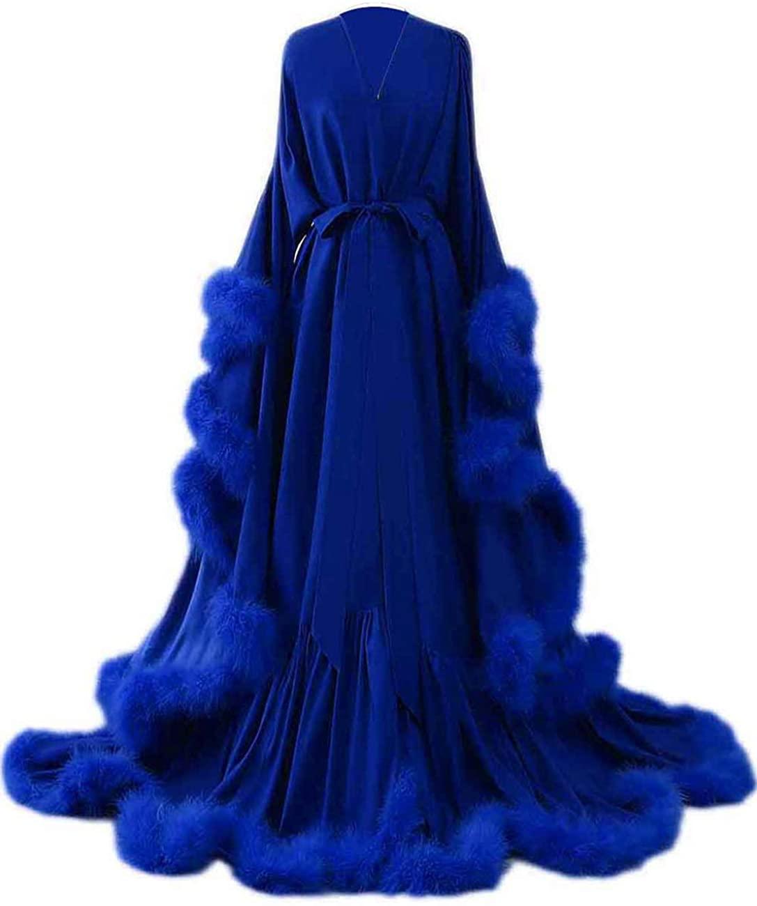Women's Feather Bridal Robe Wedding Scarf Long Lingerie Robe Nightgown Bathrobe Sleepwear with Belt