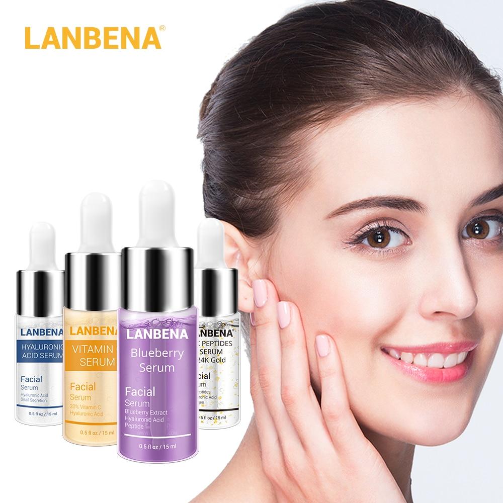 4PCS LANBENA Blueberry+Hyaluronic Acid+Vitamin C+24K Gold Six Peptides Serum Anti-Aging Spots Whitening Moisturizing Skin Care