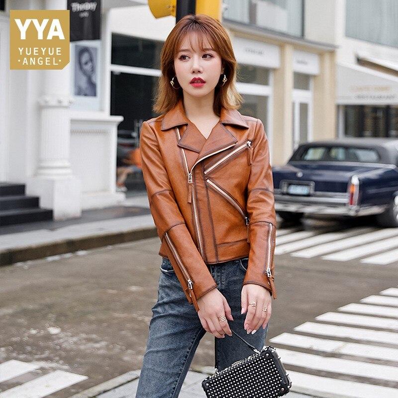Ladies Genuine Street Leather Short Jacket Zipper Slim Sheepskin Biker Coat Brand Spring Autumn Eleg