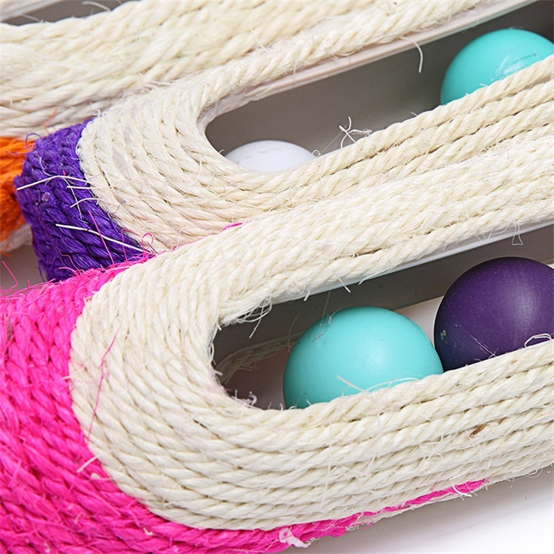 New Hot-selling Pet Toys Long Roller Sisal Cat Scratching Board with Three Snake Balls Funny Ball Badminton Toy