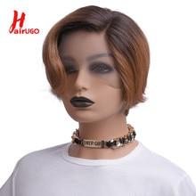 HairUGo T1B/30 corto corte Pixie lado malla con división pelucas peinado Bob pelucas de cabello humano para las mujeres peruano no Remy de color corte Pixie peluca