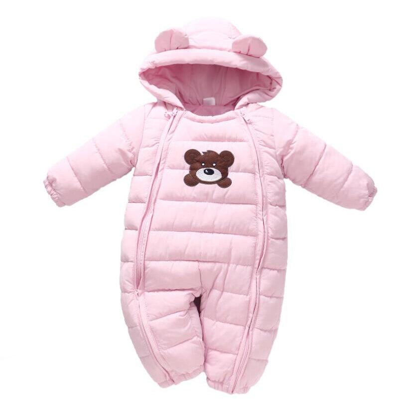 Mamelucos recién nacidos 0-2T bebé niñas niños invierno abajo algodón trajes de nieve Niño con capucha chaqueta cálida niños pequeños ropa de bebé de dibujos animados